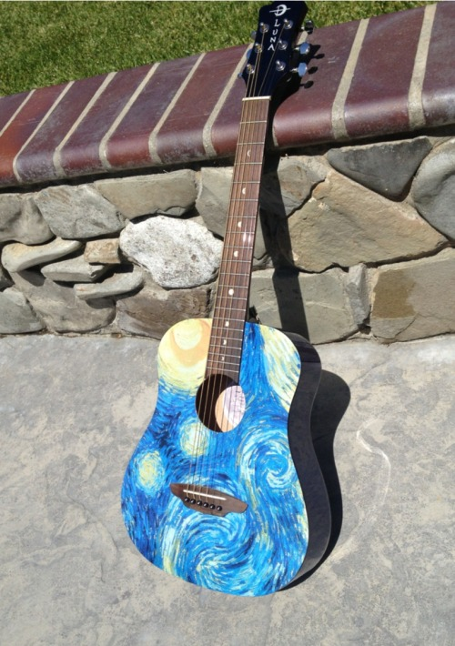 silencedrowns:  I got a travel guitar because I like to take short weekend trips but lugging around my 1973 Guild is a pain (not to mention it's entirely irreplaceable due to sentimental value; I inherited it from my father), so I now own a 3/4 sized acoustic from Luna.   Look at this thing holy shit VAN GOGH GUITAR, plus it sounds pretty good for its size and cost significantly less than a secondhand Kira tie.  I LOVE Luna guitars. The sound they make @ A @;