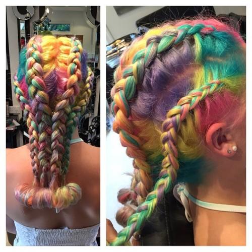hair unicorn hair braids pastel hair mermaid hair dyed hair yellow hair pink hair manic panic purple hair green hair orange hair
