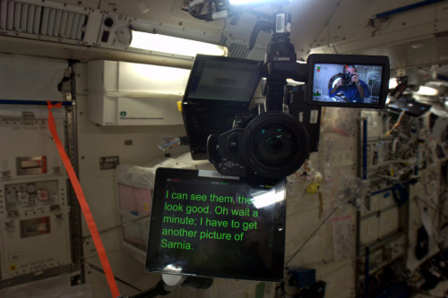 How the floating camera and teleprompter looked to me while filming the bit for the Rick Mercer Report.