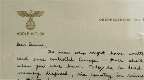"American Officer Writes a Letter to His Son on Hitler's Personal Stationery - John Farrier  ""Dear Dennis,"" reads the letter from Helms, then a spy stationed in Germany. ""The man who might have written on this card once controlled Europe – three short years ago when you were born. Today he is dead, his memory despised, his country in ruins. He had a thirst for power, a low opinion of man as an individual, and a fear of intellectual honesty. He was a force for evil in the world. His passing, his defeat – a boon for mankind. But thousands died that it might be so.  The price for ridding society of bad is always high.  Love, Daddy."" (Learn More)"