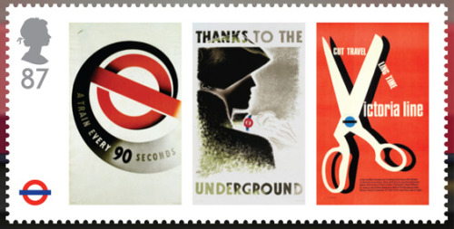 London Underground 150 year anniversary stamps: Minature Sheet The Miniature Sheet comprises four stamps, each featuring three classic London Underground advertising posters, which together create a timeline of art on the Underground Designed by NB Studio via Delicious Industries