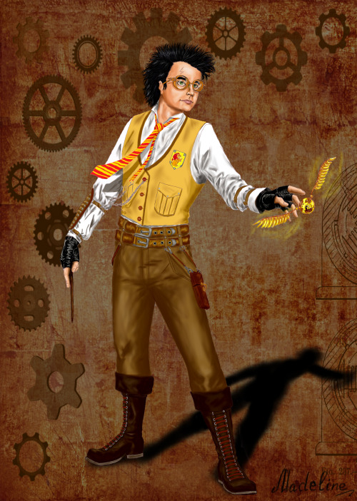 harrypotterfanart:  Harry Potter. Steampunk style. Coloured by ~MadelineSlytherin
