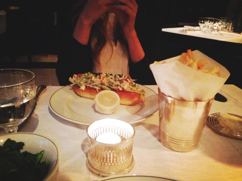 Uptowning and her lobster roll at The Delaunay last night.