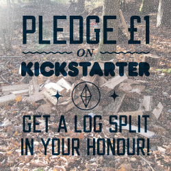 Yeah, that's right. Pledge £1 (or £2) on my Kickstarter and I'll go outside in the cold and split a log in your honour. Your log will be added to the pile which I'll be photographing as it builds. Your name will be added to a special page on my website as a thank you for your contribution.