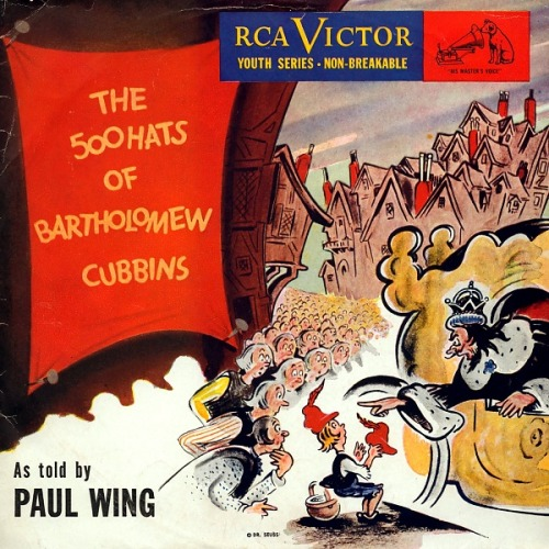 Audio Adaptation of the 500 Hats of Bartholomew Cubbins, as narrated by Paul Wing. You can view the art from the album itself, and listen to the whole thing here.