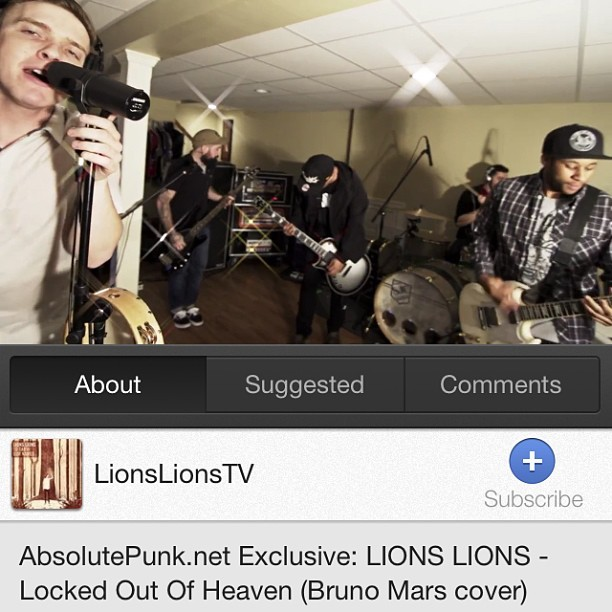 "Check out our cover of ""Locked Out Of Heaven"" by Bruno Mars over at Absolutepunk.net or just search it on YouTube!"