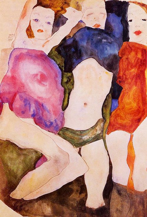 jolieing:  Egon Schiele - Three Girls, 1911
