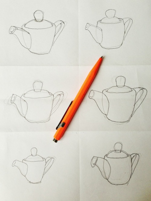 Teapot sketches by Jay Wiese These are ideas for small 12 oz. teapots, which is why the spouts & handles look so big. Later I might scan them into SketchUp and work out the details a little better.