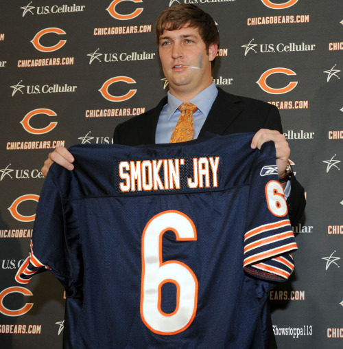 Smokin' Jay Cutler and the Bears took care of business yesterday with a 28-13 victory over the Cardinals.  With a win at Detroit next week, and a Vikings loss to Green Bay (who will want that 1st round bye), Smokin' Jay and company will make the playoffs.  Fingers crossed everyone. Fan submission (courtesy of Jimmy U.)