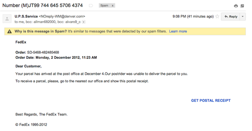 Come on spammers - THINK before you spam. Sender is UPS? Say you sent it from FedEx? Then mention it is at the Post Office? Was DHL not available?