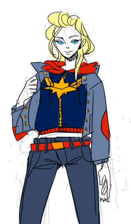 megakato:  Captain Marvel inspi sketch WIP.I saw a girl wearing a jean jacket the other day and I thought: man she looks so cool. So I wanted to draw a simple boyish look with a jean jacket.Oh and I changed my URL name… and my icon. And here's a drawing I did of my cat Mordecai and my family's cat Lucca.   I am all about that cropped hooded track jacket/sweater. Also, those cats.