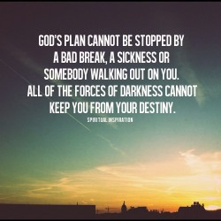 spiritualinspiration:  God's plan for your life can't be stopped by a bad break, someone leaving you, an injustice or a mistake. It's easy to think that because we aren't where we want to be in life, or we've made poor decisions or faced unfortunate setbacks that God's plans for our life are over. Nothing you have done or haven't done can cancel you from your destiny as long as you keep God first place and continually seek Him. When you don't see a way, God can make a way. When it looks like it's over, God has the final say.