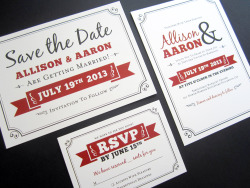 The matching invitations and RSVP cards for the Save the Dates I designed for an awesome client a few months ago have come in from the printer today!  Yessss!
