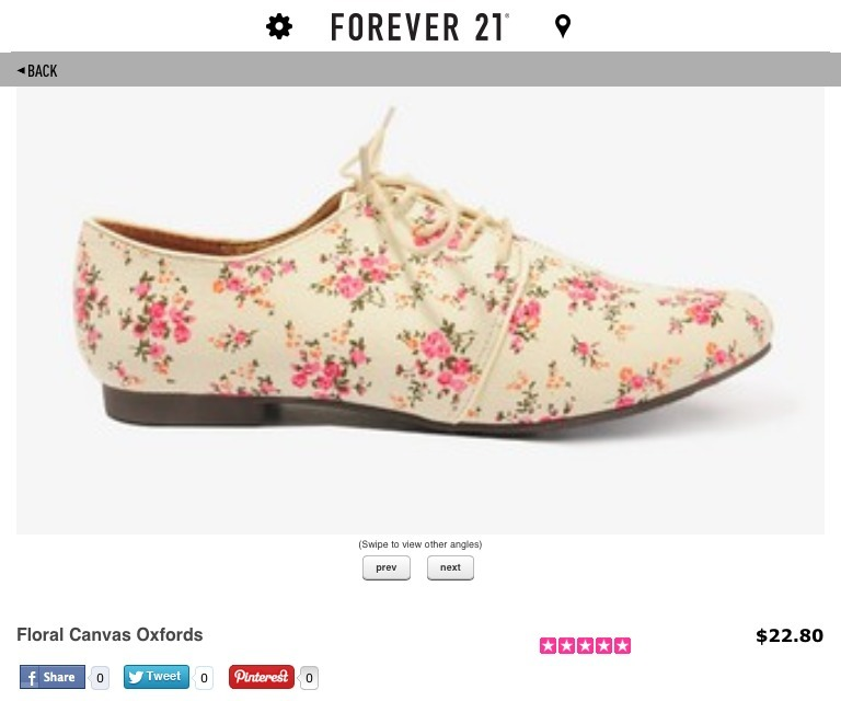 I got this pair of floral oxfords today. I gotta say I have been waiting for them. I also got two new tops from Dad and Mom's trip to Cebu. I am so excited to wear them. Anyway, I never thought I would be size 7.5 until this pair. I was always size 8 and rarely 7.5. I scanned the product code with my f21 app and viola, there it is. *u* I can't believe I am so into shoes these days.