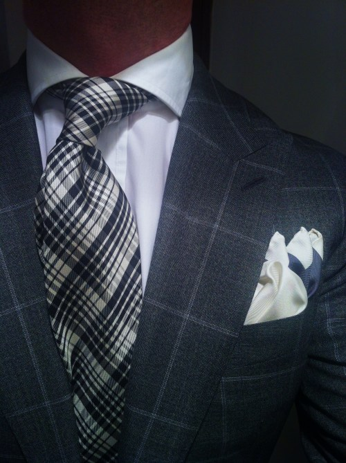 thesnobreport:  WIWT Grey windowpane check suit by Suitsupply, crisp white New And Lingwood shirt, silk tie & pocket square Tom Ford