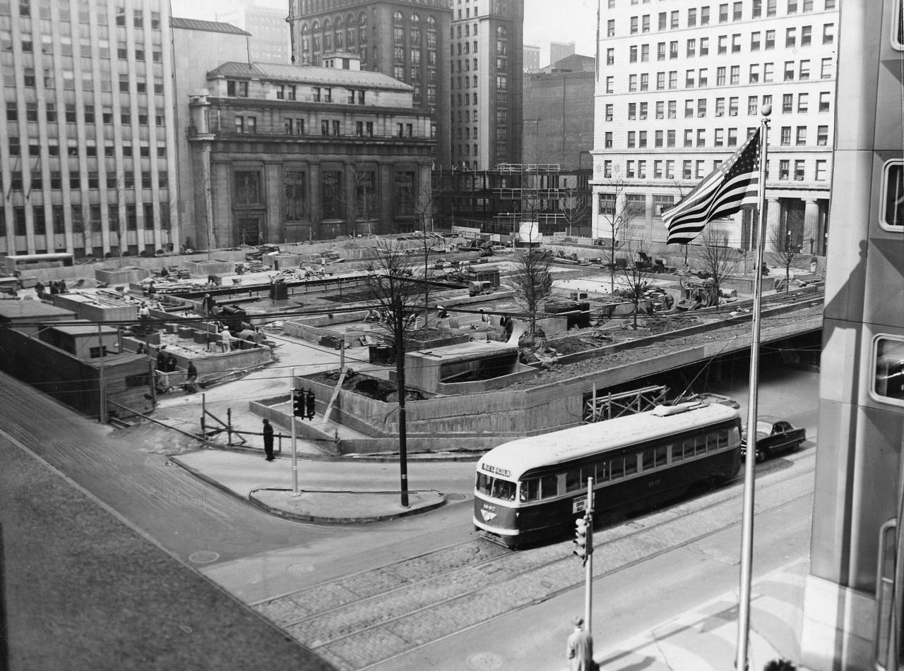Mellon Square Park under construction (Apr. 9, 1955)