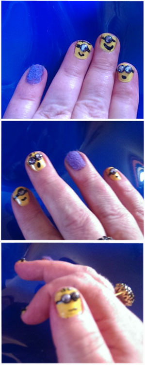 It's so FLUFFY! I'm gonna die! Having fun making googly eye minion nails today. Still need some clean up but I am tickled by them too much not to share.