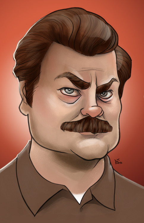 Ron Swanson caricature by Terry Parr.