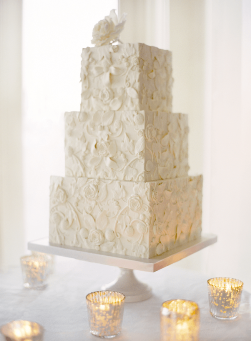 elegant and ornate detailed wedding cake photo by jose villa