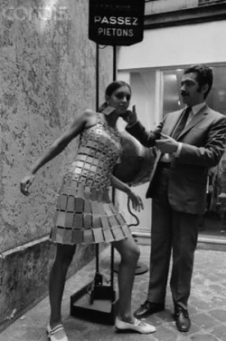 In 1967, Paco Rabanne created tunic-dresses made from strips of aluminium. One of these aluminium dresses, created from a combination of aluminium panels, and a riveted bodice was sold in October 2008 for £15,000, at an auction at Christie's.