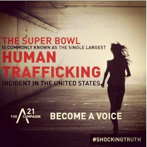 "thepeoplesrecord:  Sex trafficking and the Super BowlFebruary 3, 2013 On the Catholic liturgical calendar, February 5 is the Fifth Sunday in Ordinary Time. In the U.S., where professional football is sometimes referred to as a ""religion,"" February 5th is the highest holy day of the sporting year: Super Bowl Sunday. The Super Bowl attracts tens of thousands of fans to the host city, and millions of television viewers, making it the most watched broadcast each year. But it also attracts a sector of violent, organized criminal activity that operates in plain sight without notice: human sex trafficking. Human trafficking is defined by the United Nations as the ""recruitment, transportation, transfer, harboring or receipt of persons, by means of threat, use of force or other forms of coercion, for the purpose of exploitation.""  Sex trafficking is particularly heinous: Young women are abducted and sold into an underworld network where they are forced to engage in sexual activity for no pay, and from which it is extremely difficult to escape. There is evidence that human trafficking increases where major sporting events are held. Exact numbers are hard to come by, as trafficking is an underreported crime, but host cities, law enforcement, and civil society are becoming increasingly more aware of it. They are promoting educational campaigns and strengthening laws against trafficking to send a strong message to traffickers: You are not welcome here. If we find you, you will be prosecuted. There is a message for trafficking victims as well: If we find you, you will not be arrested; you will be rescued. In preparation for Super Bowl LXVI in Indianapolis, 11 congregations of Catholic women joined the fight against human trafficking in a unique way: They decided to use their investments as a means to address human trafficking with Indianapolis area hotels. These 11 congregations belong to CCRIM, the Coalition for Corporate Responsibility in Indiana and Michigan. CCRIM members bought shares of stock in major hotel chains in order to address the issue of trafficking as shareholders with hotel corporate management, as well as with the local franchises in the Indianapolis area. As shareholders they have a stake in how the business is run, and they decided to work with the hotels to help them recognize and report any incidents of human trafficking. The sisters set up a database of 220 hotels within a 50-mile radius of Lucas Oil Stadium in Indianapolis. On January 5, the managers of these hotels received a fax from CCRIM that said, your shareholders want to know: Have your staff members been trained to recognize the signs of human trafficking? Do you have plans in place so your staff members can safely report any trafficking incidents? Do you know who to contact in the Indianapolis area in order to protect the victims and prosecute the traffickers? Would you be willing to make educational materials on trafficking available to your staff and your guests? For the next 10 days, 40 sisters called the managers to get answers to those questions. Although 20 managers were reluctant or refused to speak to them, they did speak with 200 hotel managers. The results? Seven hotels requested help in setting up a training session, and the sisters linked them to trainers. Forty-five hotels already had conducted training for their staff members. Ninety-nine hotels asked for the local contact list, which includes the Attorney General's Office, the Indianapolis police department's Anti-Trafficking Division, safe houses for victims and 24-hour hotline numbers. They also asked for informational brochures, provided by the Polaris Project (an initiative of the Department of Health and Human Services) to help their staff and guests recognize the signs of human trafficking. The sisters delivered this information to each manager personally and thanked them for their cooperation in stemming the tide of trafficking at this year's Super Bowl. Source"