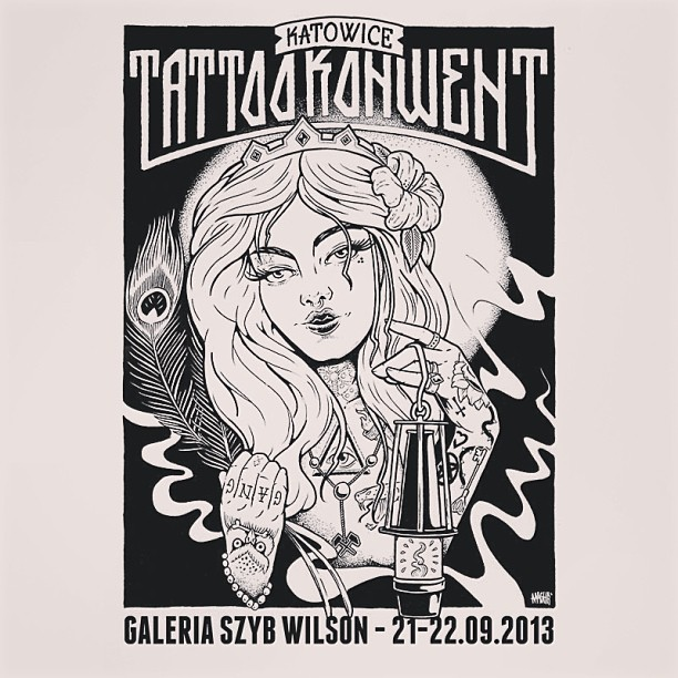 #illustration #ink #poster #drawing #handmade #katowice #tattoo #convention 2013 #aaaghr #beauty #girl with #tattoos .