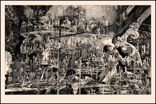 "posterocalypse:  Review: Bernie Wrightson's ""I Shall Be With You"" Art Print  Fresh off the triumph of their first Bernie Wrighton print sale, Nakatomi Inc. is at it again with yet another show-stopping, jaw-dropping Frankenstein illustration by the guy who co-created Swamp Thing. Can I get a hallelujah?! I don't mean to beat a dead horse here, but this poster is just as INCREDIBLE as Bernie's ""A Filthy Process."" Utilizing an inordinate amount of detail, the artist has given every bubbling beaker, decomposing fleck of flesh, and lonely ray of light, a life all its own in a way that could only be described as magical. The haunting ""I Shall Be With You"" illustration manages to evoke a tangible sense of doom and desperation that's sure to please any fan of the ""show, don't tell"" storytelling philosophy. A picture this detailed is worth far more than a thousand words. Here's hoping this isn't the last we've seen of Bernie Wrightson's illustrated Frankenstein from Tim Doyle and company.  Click here to read more 