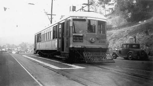 003 - LATL W Line Car 1506 N. Figueroa St. & Buena Vista Terrace 19471124 on Flickr. Photographer: Alan Weeks Los Angeles Transit Lines streetcar no.1506 on Line W at North Figueroa Street and Buena Vista Terrace, November 24, 1947.
