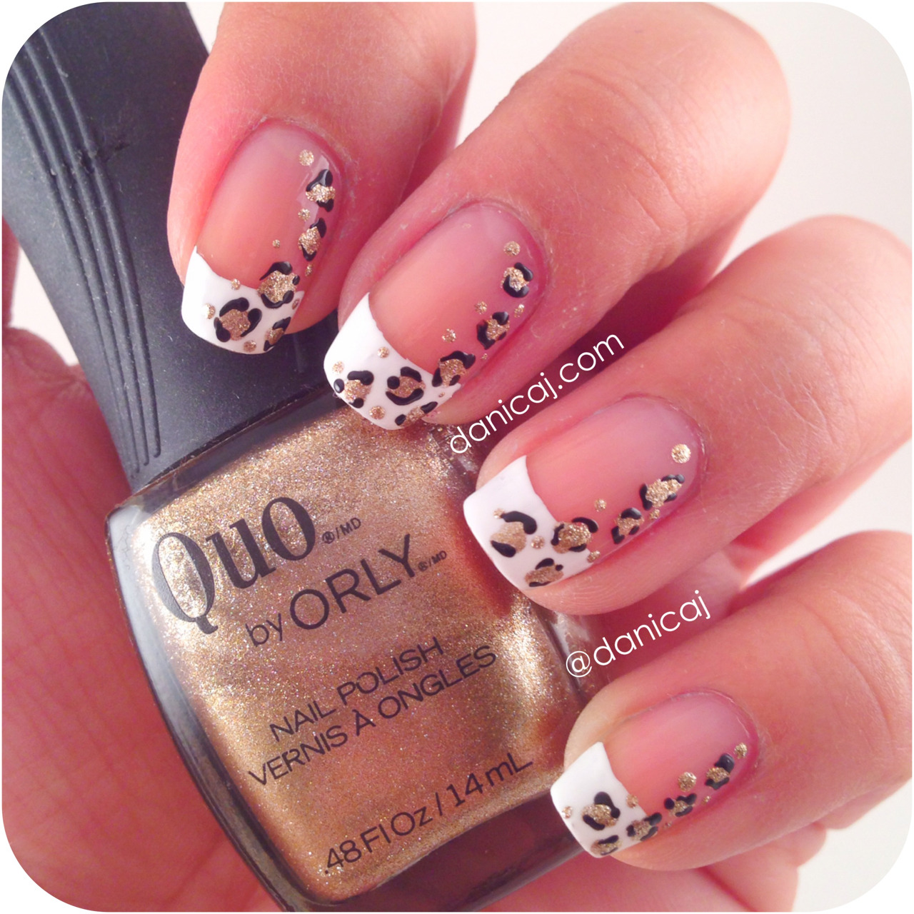 French tips with leopard prints.  Polishes Used: Sally Hansen - White On Quo by Orly - Filthy Rich Essie - Licorice