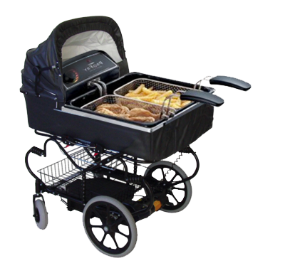 tibets:   a baby carriage that doubles as a fryer ! Fry all your chicken in one portable, easy baby carriage!