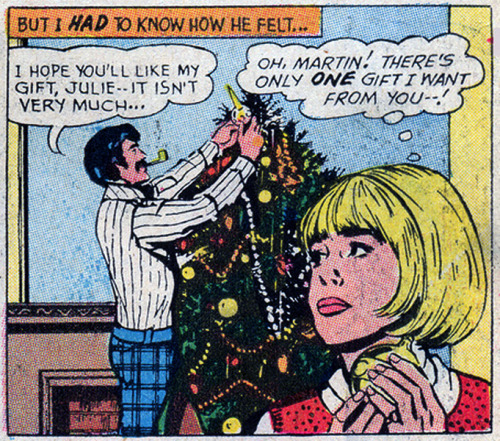 "(via Sequential Crush: Happy Holidays!)   ""The Perfect Gift"" - Pencils: John Rosenberger, Falling in Love #128  (January 1972)"