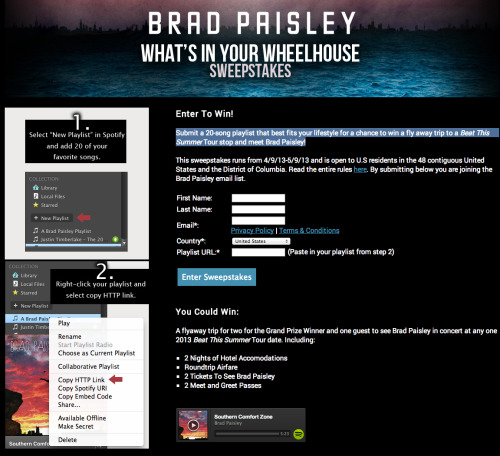 Brad Paisley fans - you're in for a treat! Submit a 20-song playlist here to win a fly away trip to one of his Beat This Summer Tour stops and to meet the Country star himself! Get the competition details and entry here.