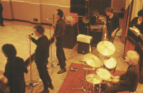 "public-image-limited:  Crass sound check at unknown venue, circa 1980. From left to right: Andy Palmer, Steve Ignorant, Pete Wright, sound engineer known only as ""Dave,"" Penny Rimbaud, and Vi Subversa."
