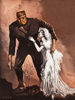 vintagegal:  llustration by Frank Kulz of The Bride of Frankenstein for the Universal Exhibitor Book & Universal Weekly (Universal, 1934-1935)
