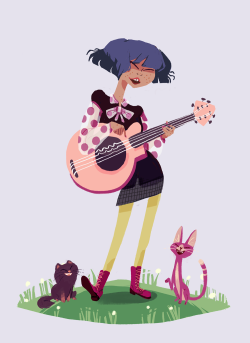 Another drawing from my portfolio! Her cats sing along with her~