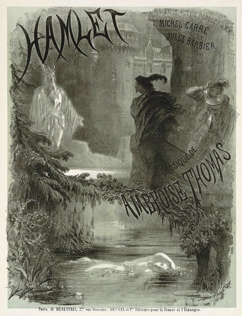 hauntedgardenbook:  Hamlet, 1868. Lithograph by Alphonse de Neuville for the opera performed by the Académie Impériale de Musique. Art Gallery of New South Wales collection.