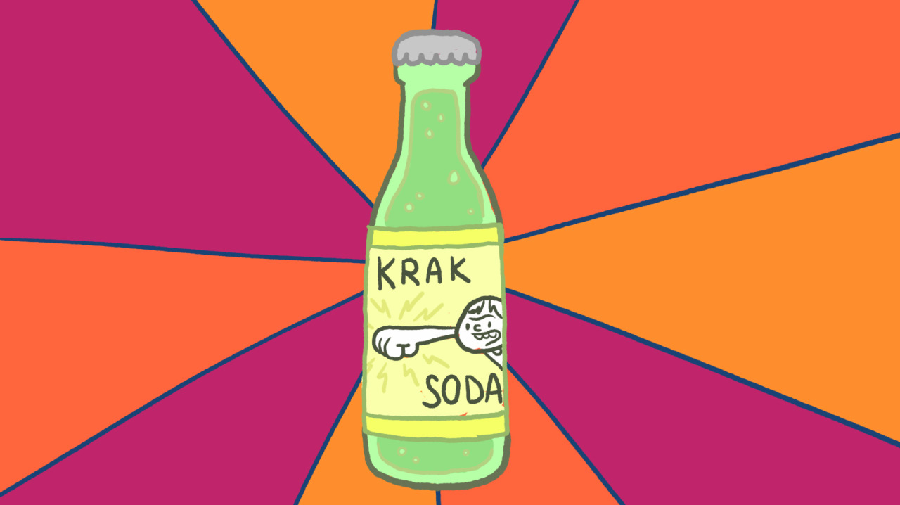 "kochalka:  I want to drink that soda.  Anybody have a indy soda company that wants to sign a shitty licensing deal with us?  Step up, motherfup. From Sweet Baby Jesus, SuperF*ckers episode 11.  (Actually, ""Sweet Baby Jesus"" would be an excellent name for a soda too.)"