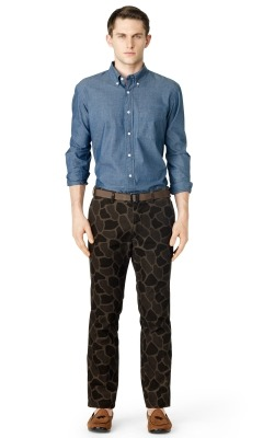 The Club Monaco Printed Corduroy Camo Trousers are ILL These pants aren't for followers B.  These pants for real real dudes.  Hardbody dudes.  Dudes that aren't afraid to lay the murder game down on their appearance.  Dudes that aren't afraid to approach a fine lady and let her know that she is a fine lady.  Dudes with cojones of steel. These pants are for dudes that are a soldier in the streets and a boss in the sheets. Oh you didn't know?  Yeah son, that's what ladies want, that's what ALL ladies want. And if they say they don't then they are lying to themselves, WORD UP.  And that's the type of cat it takes to rock this ILL garment.  A brotha that gets his.  Gets his in the streets, and gets his in the sheets on some C.E.O. boardroom status B. Rocking crispy camo isn't anything new.  Well maybe it's new to high fashion, but it's nothing new to the real real dudes who have been rockingcrispy camo's on some Brooklyn aka Bucktown aka Buck Em Down '94 steez.  But now real real dudes that are on their grown man steez can't rock some baggy army surplus store camos in the streets.  That doesn't get you boardroom status in the sheets either. You rock a grown man looking sexy pair of camo pants like the Club Monaco Printed Camo Corduroy Camo Trousers.  These pants exude confidence B. Ladies like confidence B.  And you want to posses what ladies like.  Possesing qualities that ladies like gets you more ladies, yeeeahhh son!  So rocking these with a button up and a tie and watch the brothas salute you in the streets, and the honies salute you in the sheets.