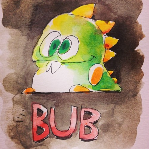 The adorable, little Bub from Bubble Bobble. More NES sprite-inspired art.