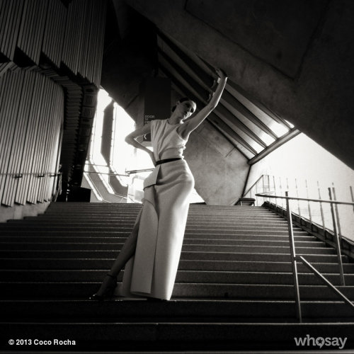 The structure and light within the Sydney Opera House.  View more Coco Rocha on WhoSay