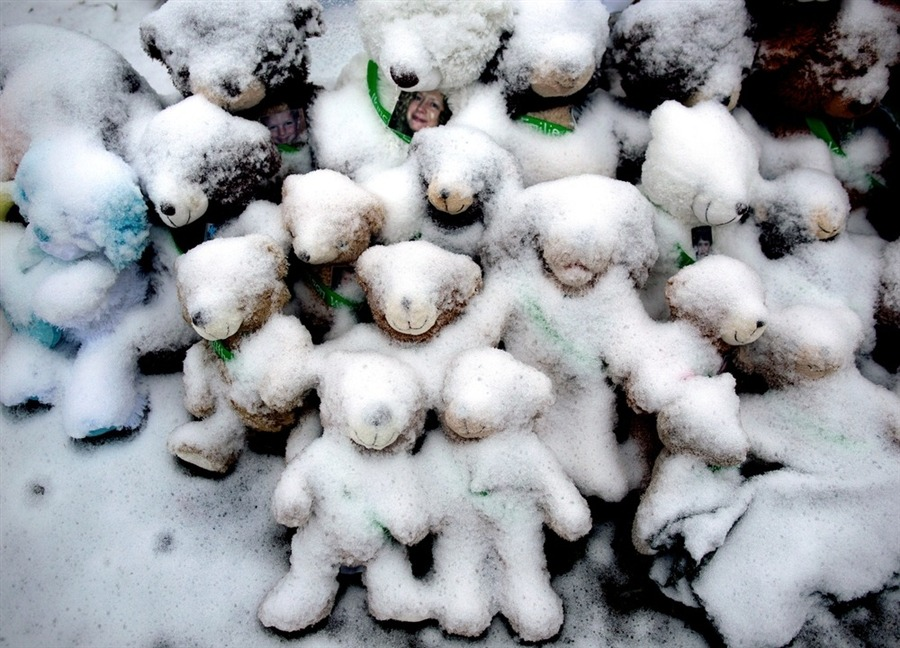 bobbycaputo:  Snow-covered teddy bears are a sad Christmas Day reminder of the Newtown tragedy. Snow-covered stuffed animals, some with photos attached, sit at a memorial in Newtown, Conn., Dec. 25, 2012.