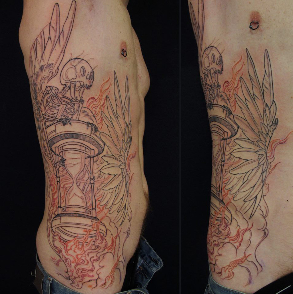 thievinggenius:  Tattoo done by Jee Sayalero. (in progress)  Lovely! Can't wait to see the finished piece!