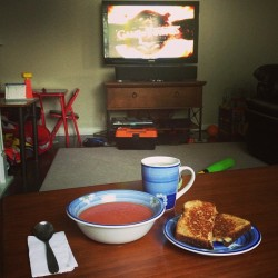 Game of Thrones, grilled cheese, soup, and tea. #sick #greentea #tomato #cheese #GOT #justme