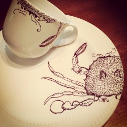 2nd sea creature dish in its series   #crab #seacreatures #sharpie #ink #claws #artwork #iobette