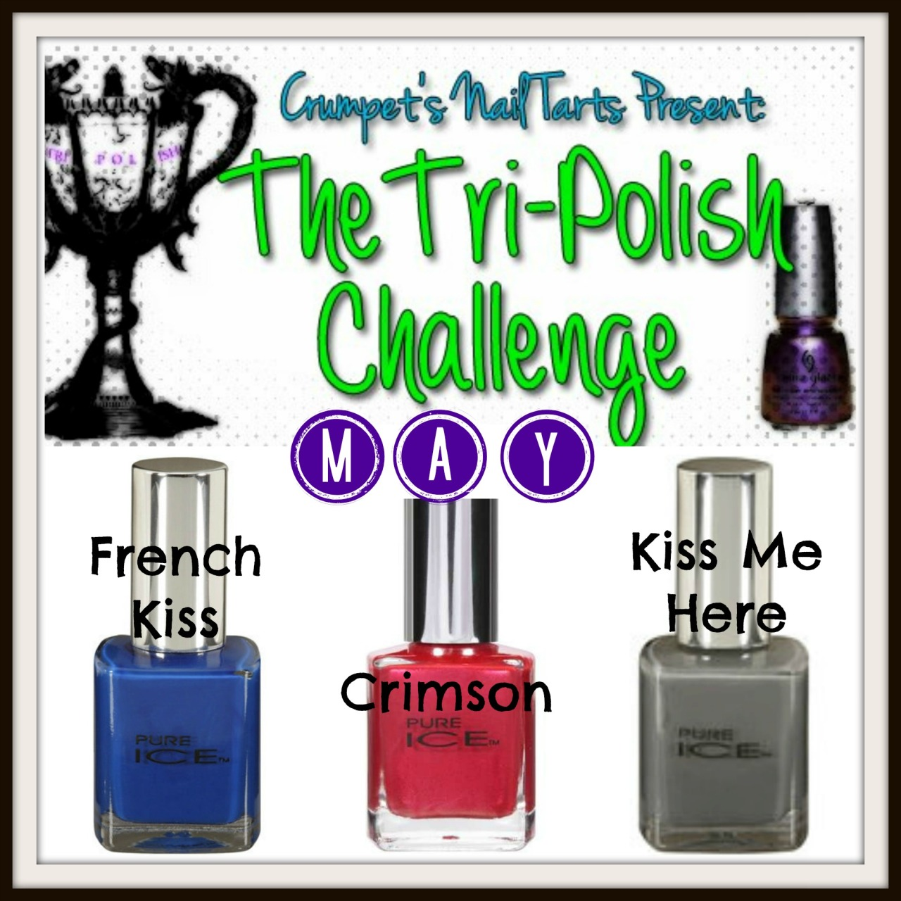 It's that time of the month again - time for the TRI-POLISH CHALLENGE! It starts tomorrow :D For May I've chosen Pure Ice as my brand o' the month and the colors are blue (French Kiss), red (Crimson), and grey (Kiss Me Here).