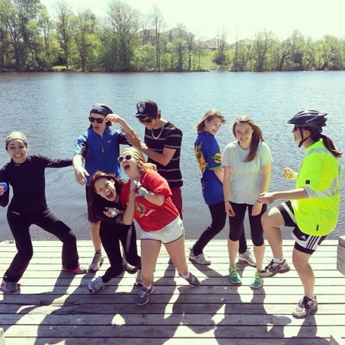 Just another outdoor Ed trip #outdoored #biketrip #water #lake #dock #trees #sunny #bikegear #classmates #friends
