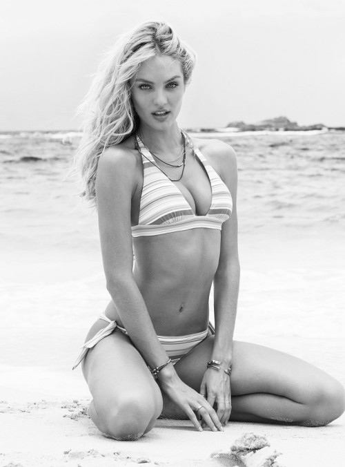 Candice Swanepoel. In a bikini. In black and white.