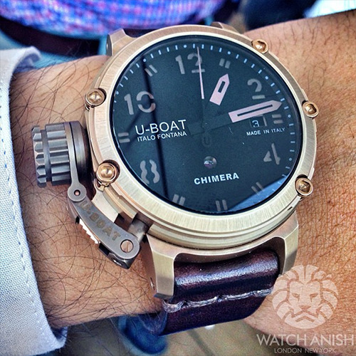 watchanish:  A genuine complication made by U-Boat. Full bronze destro case in a very wearable 42mm size with a very nice push button function selector! Limited to 300 pieces.Live from Basel