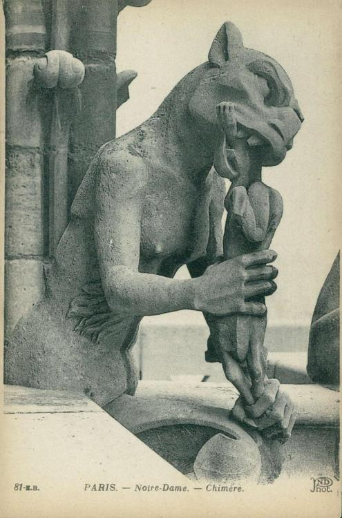 the-two-germanys:   Paris. - Notre-Dame. - Chimère.Postcard. France, 1930s.