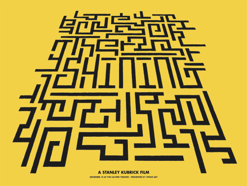 spokeart:  Later today: Stanley Kubrick's The Shining!Brand new limited edition screen print by artist Brandon Schaefer. Signed and numbered in an edition of only 100 copies, releasing tomorrow exclusively through Spoke Art.Stay tuned to see Joshua Budich's take on the Shining as well as Sam Smith's awesome Eyes Wide Shut print. Be sure to follow Brandon on Tumblr here - http://seekandspeak.tumblr.com/
